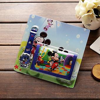 New Cartoon Wallet Watch Set Spiderman Mickey Minnie Students Birthday
