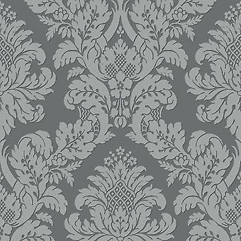 Pear Tree Charcoal Glitter Damask
