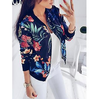 Women Crop Vintage Floral Print Zipper Bomber Jackets Coat