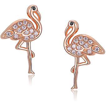 Flamingo Stud Earrings 925 Sterling Silver animal Earrings