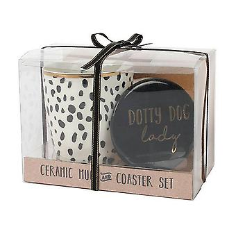 Something Different Dotty Dog Lady Mug And Coaster Set