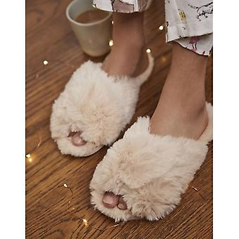 Joules Slumber Dames Faux Fur Mule Slippers Soft Pink