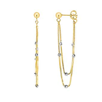 14K Yellow And White Gold Multi Stranded Fancy Chain Front And Back Style Drop Earrings