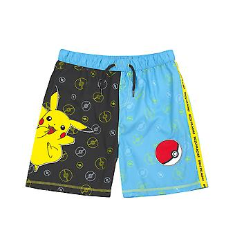 Pokemon Badeshorts für Jungen | Schwarz & Blau Pikachu Bademode Kinder & Teens | Gamer Swimming Pants Trunks mit Drawstring Bund