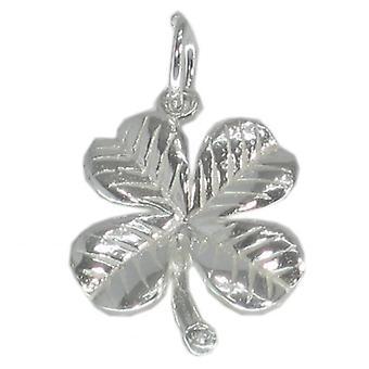 Lucky Four Leaf Clover Sterling Sølv Charm 0,925 X 1 Luck Charms