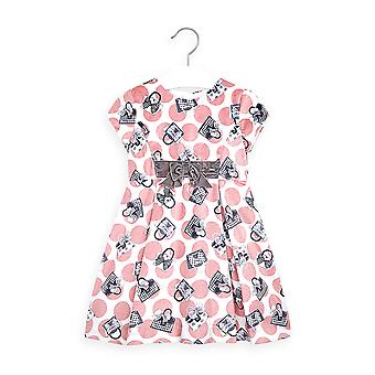 Mayoral girls velvet pink print dress 4968/76