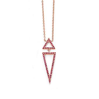 Elements Silver Sterling Silver Rose Gold Plaqué Rose CZ Triangle Collier de longueur 42-45cm