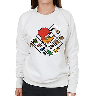 Woody Woodpecker Character Head With Icons Women's Sweatshirt