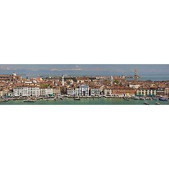 Korkea kulmasta katsottuna kaupunki veden äärellä Venetsian Veneto Italy Juliste Tulosta