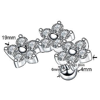 Steel Ear Tragus Cartilage Piercing Crystal Flower, Conch Lobe Earrings, Ear
