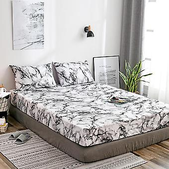 Marble Pattern Fitted Bed Sheet High Elastic Soft Breathable Bed Mattress Cover