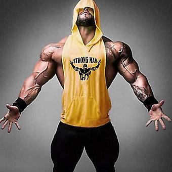 Men Cotton Tank Top With Hoodie Bodybuilding Stringers Workout Singlet