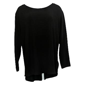 Lisa Rinna Collection Women's Top Knit Curved Hem Black A341720