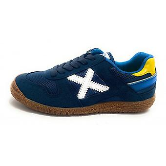 Shoes Baby Munich Sneaker With Suede Mini Goal Laces/ Navy Blue Fabric Z21mu05