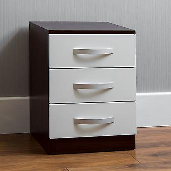 Hulio 3 Drawer Bedside Chest Cabinet High Gloss, Walnut & White