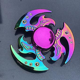 Farverig zinklegering Fidget Spinner, Gyro, Metal Bearing Rainbow, Hand Focus Legetøj
