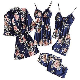 Imitación seda estampado encaje pijama sexy y satinado bata de baño pantalones pantalones cortos set