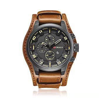 Män Sport Quartz Titta på modekalender klockor stor urtavla läderrem armbandsur