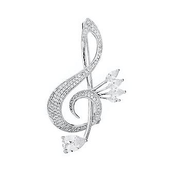 Delicate Brooch Pin Musical Symbol Corsage Zircon Ladies Brooch