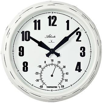 אטלנטה 4478 שעון קיר רדיו שעון קיר אנלוגי לבן בציר אופטיקה עם מדחום