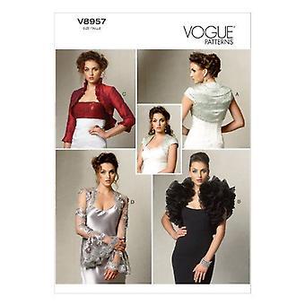 Vogue Ompelu kuvio 8957 Misses takki Bolero Koko 6-14 A5 Leikkaamaton