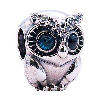 PANDORA Owl Sterling Silver Charm With Bright Cobalt Blue Crystal - 798397NBCB