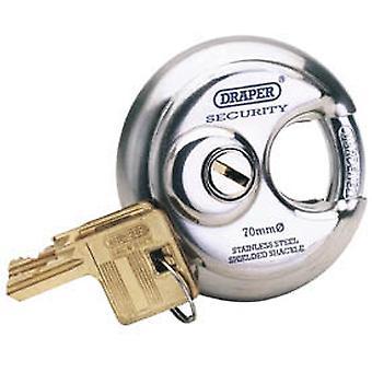 """דרייפר 64209 מומחה בקוטר 70 מ""""מ מנעול נירוסטה 2 מפתחות"""