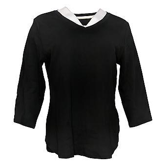 Isaac Mizrahi Live! Women's Top 3/4 Sleeve V Neck Jersey Black A368549