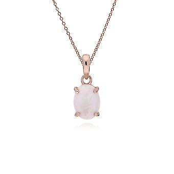 Classic Oval Rainbow Moonstone Pendant Necklace in Rose Gold Plated 925 Sterling Silver 270P023902925