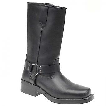 Woodland High Harley Mens Leather Western Boots Black