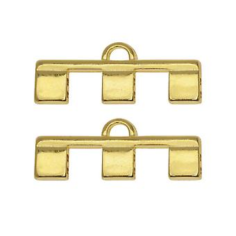 Cymbal Bead Endings fit Tila Beads, Piperi III, 10mm, 2 Pieces, 24kt Gold Plated