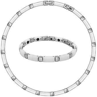 FengChun Set Collier und Armband aus Keramik und Edelstahl wei/Silber in Einer Geschenkbox