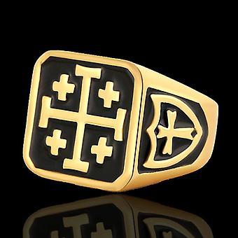 Knights templar jerusalem cross masonic ring-gold color