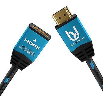 FengChun 4K HDMI Verlängerungskabel - 2 Meter Premium Stecker auf Buchse, 18 GBit/s High Speed HDMI