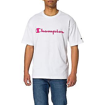 Champion Seasonal Fluo Logo Crewneck T-Shirt, White Ww006, XL Men's