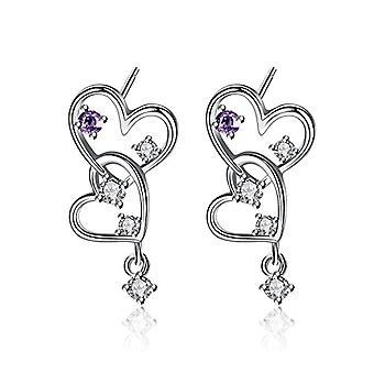 Gemshadow for women in Sterling 925 silver with double heart zircon earrings and 925, color: Purple Heart Earrings, cod. Ref. 0645249404716