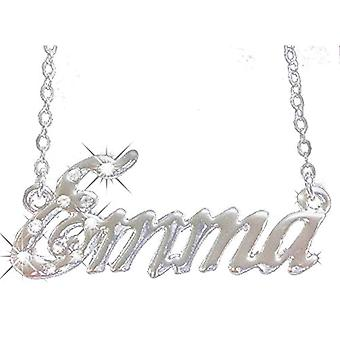 """L Emma - 18-carat white gold-plated necklace - adjustable chain from 16"""" to 19"""" - free gift box"""