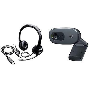 FengChun C270 Webcam HD Video- und Audiotechnologie - Schwarz + H390 USB Headset