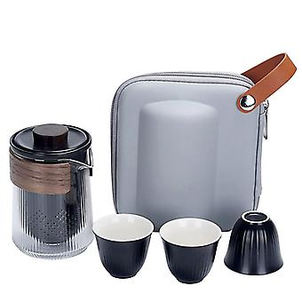 Portable Teaware Chinese Glass Travel Tea for One Set With Carring Bag  Heat-resistant Glass Pitcher Tea Cup Glass Set Ceramic