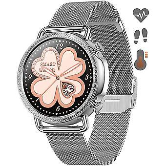 Умные часы Умные часы для Android iOS с монитором температуры кожи Монитор сердечного ритма Женское здоровье Монитор сна Оксиметры артериального давления, фитнес-трекер Женщины Мужчины (серебро)