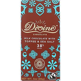 Divine Chocolate Choc Bar Mlk Tffee S Slt, Case of 12 X 3 Oz