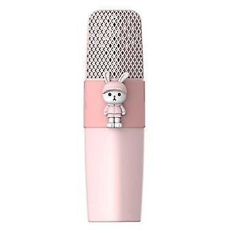 K9 micrófono inalámbrico bluetooth KTV cantando micrófono de dibujos animados para niños (Rosa)
