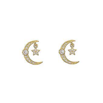Ear Studs Star Moon Micro Zircon Encrusted S925 Needle Earrings For Birthday Gift