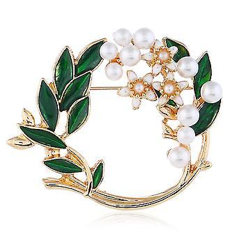 Brooch Pin Garland Green Leaves Corsage Pearl Scarf Clip Ladies Brooch