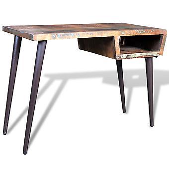 vidaXL table with iron legs waste wood