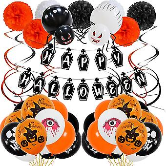 Halloween party paper card blood eye letter 40pcs hanging flag latex combination