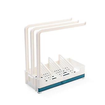 Køkken Dobbelt formål Drain Cloth Gratis Stansning Sæbe Rack Væg monteret svamp opbevaring rack (blå)
