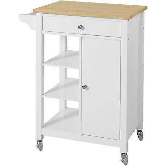 SoBuy Küche Lagerung Trolley Kabinett Cart, Schublade und Regale, weiß, FKW46-WN