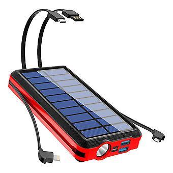 20000mAh Solar Power Bank, 10W Fast QI Беспроводное зарядное устройство с водонепроницаемым зарядным устройством с портативным зарядным устройством фонарика Poverbank Camping, для iPhone для Samsung, (красный)