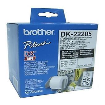 Kontinuerlig papir for skrivere Brother DK-22205 Hvit